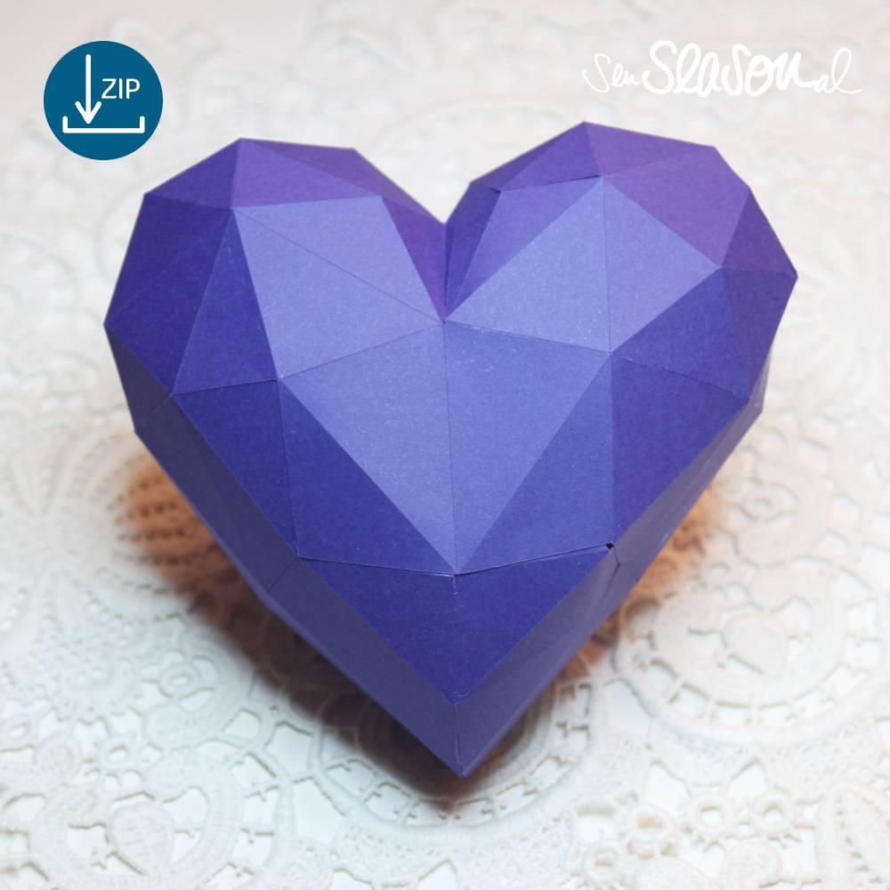 Dreidimensionales Herz, Plotter-Datei, romantisches 3D-Herz für Valentinstag oder Hochzeit, mit Anleitung, svg dxf Bild 1