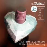 Dreidimensionales Herz, Plotter-Datei, romantisches 3D-Herz für Valentinstag oder Hochzeit, mit Anleitung, svg dxf Bild 10