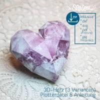 Dreidimensionales Herz, Plotter-Datei, romantisches 3D-Herz für Valentinstag oder Hochzeit, mit Anleitung, svg dxf Bild 2