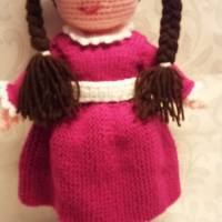 gehäkelte Puppe, Mädchen Puppe, Kleid, Pink, Kuschelpuppe, Kuschelfigur Bild 1