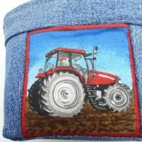 Lenkertasche Traktor, Hängeutensilo, Jeansupcycling, Unikat hessmade Bild 5