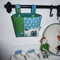 Lenkertasche 'Eulen', Hängeutensilo, Stoffkörbchen, Unikat hessmade Bild 1
