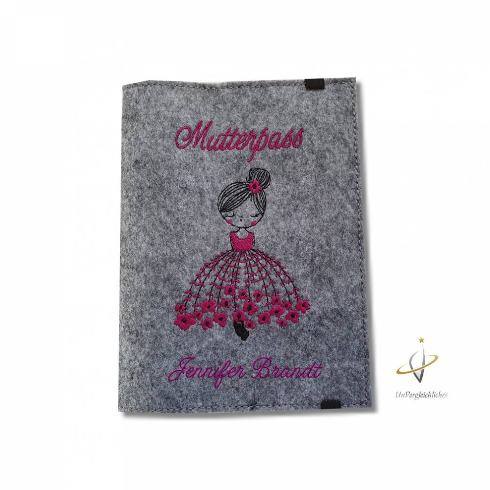 Mutterpasshülle Filzhülle Mutterpass Ballerina personalisierbar Bild 1