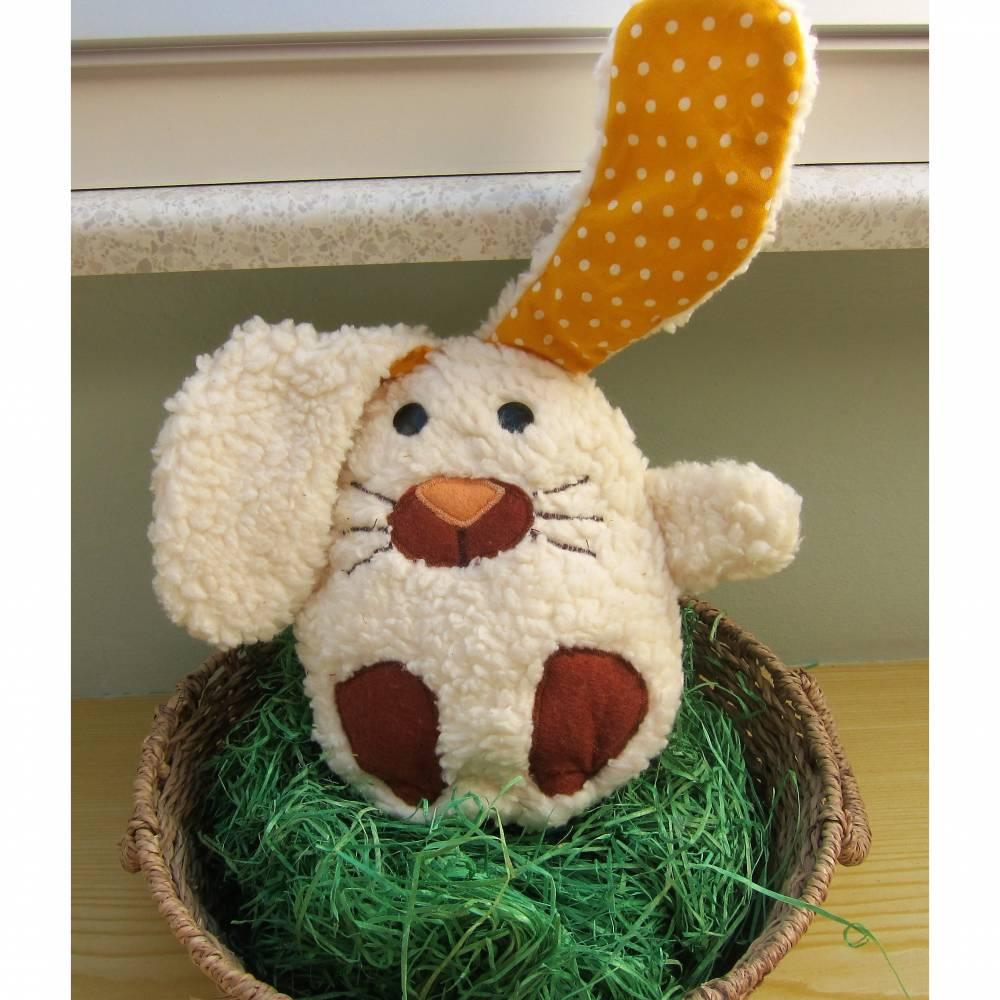 Ein Ei mit Überraschung mal was anders Stoffhäschen Hase in ein Ei  Ostern, Frühling, Puschel Bild 1