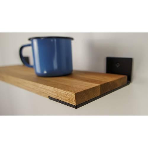 Regal aus Eiche und Stahl 50 cm Holz industrial rustikal Wandregal handgefertigt individualisierbar TYP D