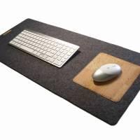 Schreibtischunterlage mit Mauspad Handmade Merino Wollfilz Filz Kork Farb- und Größenauswahl Bild 1
