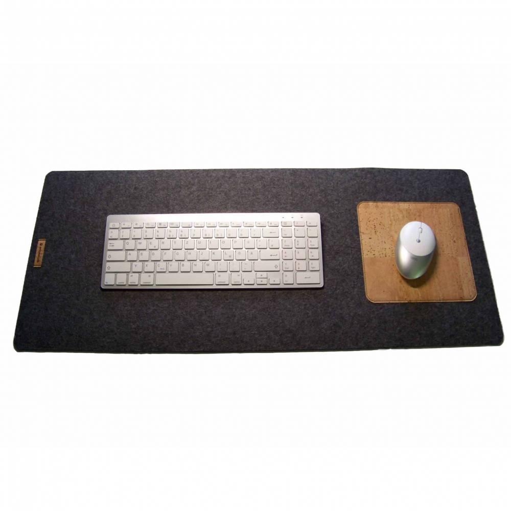 ForU-1 Mauspad für Schreibtisch aus Wollfilz Schwarz #EB