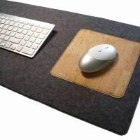 Schreibtischunterlage mit Mauspad Handmade Merino Wollfilz Filz Kork Farb- und Größenauswahl Bild 8