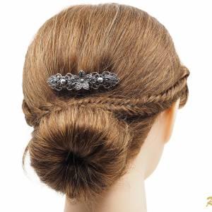 Filigrane Haarspange Antik, Französische Haarspange, Trachten Haarschmuck Dirndl, Vintage Metall Haarspange Silber Bild 3