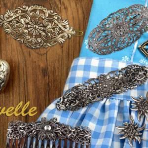 Filigrane Haarspange Antik, Französische Haarspange, Trachten Haarschmuck Dirndl, Vintage Metall Haarspange Silber Bild 7