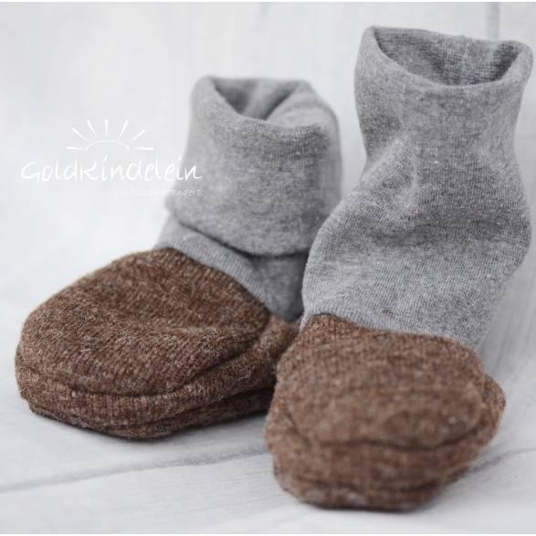 Rutschfeste Baby-Schuhe aus Woll-Walk, warm und weich, perfekt für Baby-Trage, Tragetuch, Kinderwagen, Walkschuhe, Wolle Bild 1
