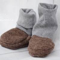 Rutschfeste Baby-Schuhe aus Woll-Walk, warm und weich, perfekt für Baby-Trage, Tragetuch, Kinderwagen, Walkschuhe, Wolle Bild 2