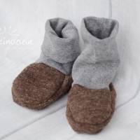 Rutschfeste Baby-Schuhe aus Woll-Walk, warm und weich, perfekt für Baby-Trage, Tragetuch, Kinderwagen, Walkschuhe, Wolle Bild 3