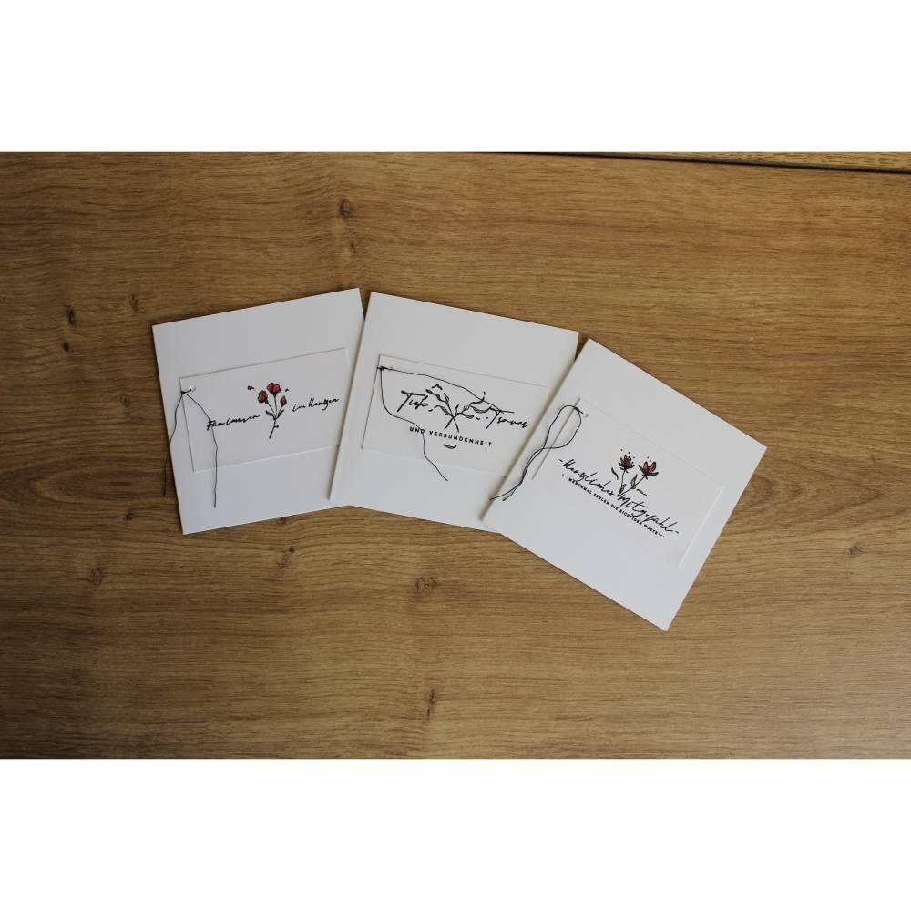 """Quadratisches Kartenset """"Herzliches Mitgefühl"""" aus der Manufaktur Karla Bild 1"""