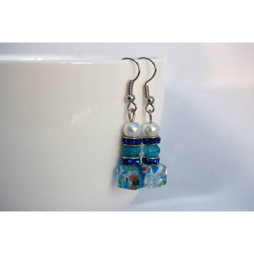 Blaue Glasperlenohrringe mit Strassrondell Bild 1