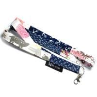 Schlüsselband lang mit Karabiner Patchwork Schlüsselanhänger Einzelstück blau weiß bunt Anker Bild 1