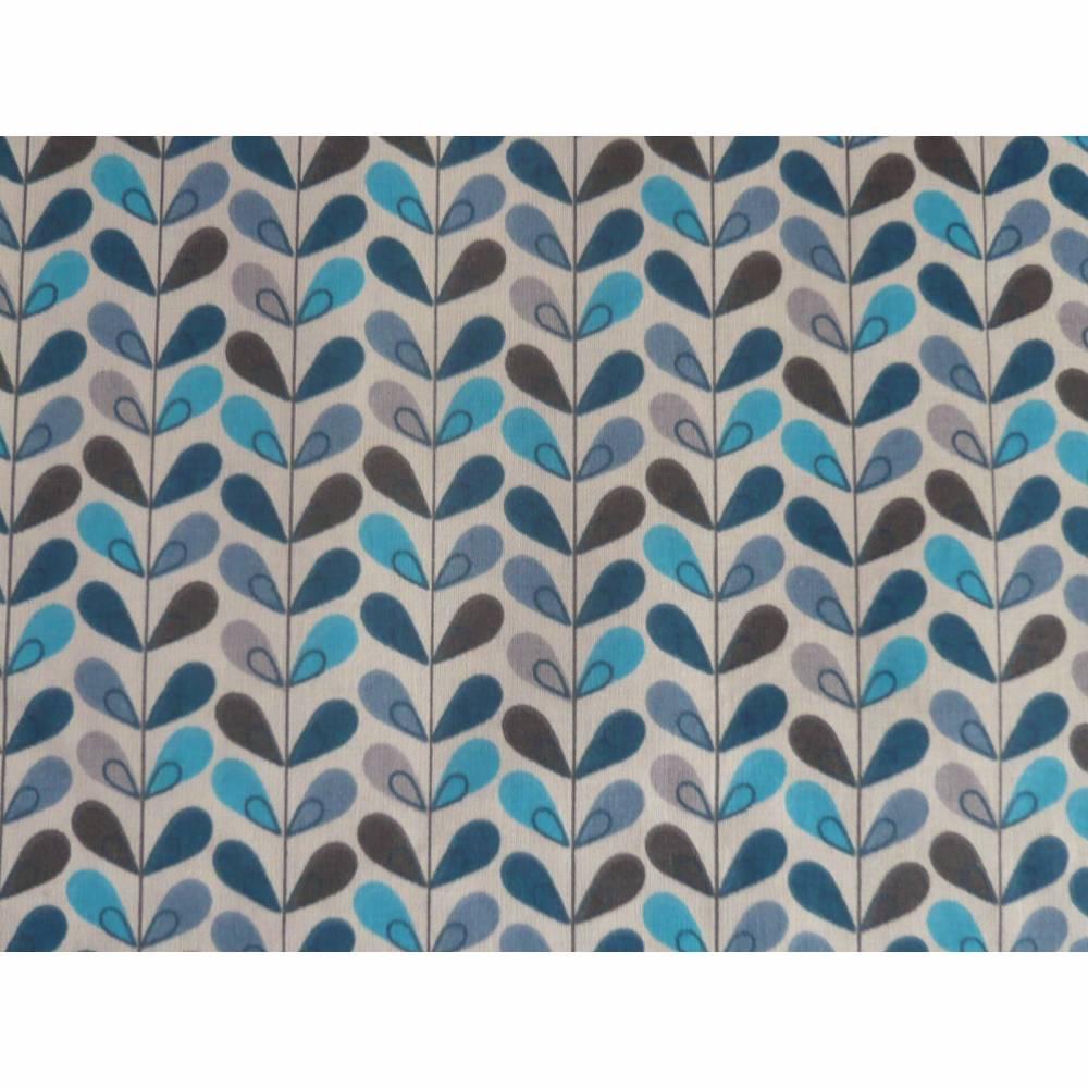 11,20 EUR/m Baumwolle Stoff Scandy Blätter türkis blau grau Bild 1