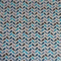 11,20 EUR/m Baumwolle Stoff Scandy Blätter türkis blau grau Bild 3