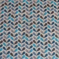 11,20 EUR/m Baumwolle Stoff Scandy Blätter türkis blau grau Bild 4