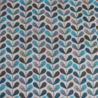 11,20 EUR/m Baumwolle Stoff Scandy Blätter türkis blau grau Bild 6