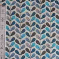 11,20 EUR/m Baumwolle Stoff Scandy Blätter türkis blau grau Bild 7