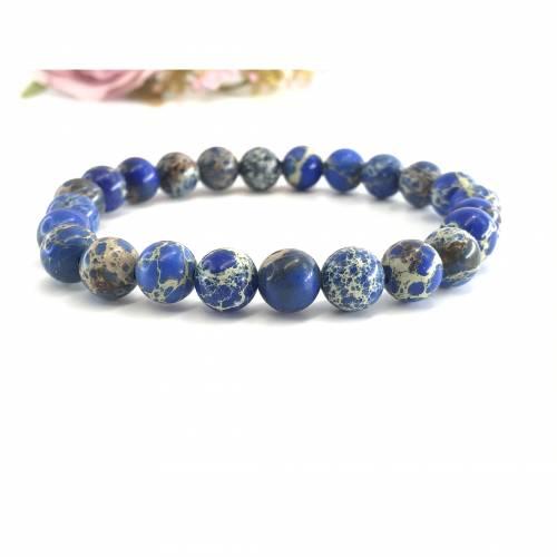 """Natursteinperlen-Armband aus natürlichen Jasper Stein """"See blau Meer"""""""
