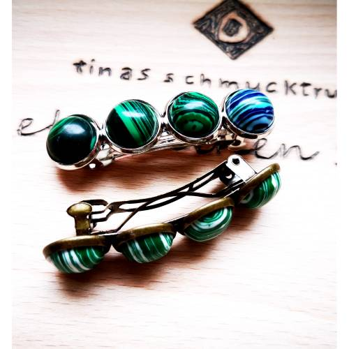 verzierte Haarspange mit Stein-Cabochons, Vintage-Stil, Haarschmuck, silber- oder bronzefarben
