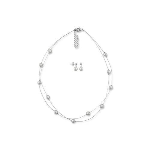 Brautschmuck Set Perlen, Schmuckset Braut, Perlenkette mehrreihig, Hochzeitsohrringe, 925 Silber, Brautschmuck Hochzeit