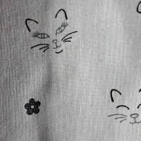 Dekostoff natur mit Katzen, Baumwollmischung, Breite 1,40 m Bild 2
