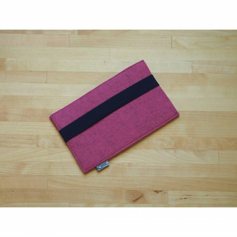 Handyhülle, Handyetui pink mit dunkelblauem Gummiband Bild 1