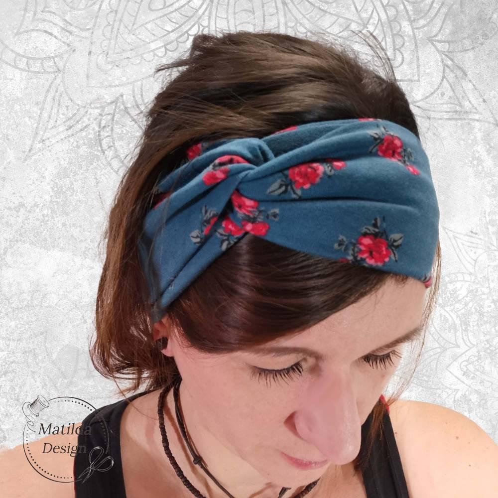 Stirnband • RAUCHBLAU BLÜMCHEN • alle Größen • Jersey • Tragevarianten • Sonderanfertigungen möglich • viele Farben Bild 1