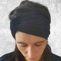 Stirnband • RAUCHBLAU BLÜMCHEN • alle Größen • Jersey • Tragevarianten • Sonderanfertigungen möglich • viele Farben Bild 5