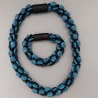 Einmaliges Schmuckset gehäkelt, petrol schwarz, Kette + Armband, 45 +19 cm, Einzelanfertigung Bild 3