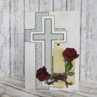 Trauerkarte, Kondolenzkarte Kerze mit Rosen Bild 1