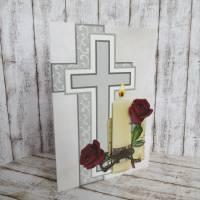 Trauerkarte, Kondolenzkarte Kerze mit Rosen Bild 3