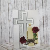 Trauerkarte, Kondolenzkarte Kerze mit Rosen Bild 4