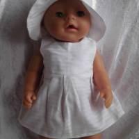 Puppenkleid mit Hut,  Puppenkleidung, 42cm, 43 cm, Sommerkleid Bild 1