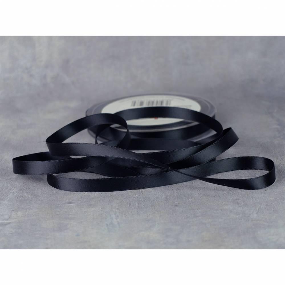 Satinband 6 mm Schwarz Bild 1