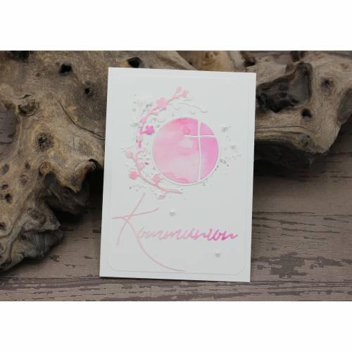 Glückwunschkarte zur Konfirmation - Kreuz im Kreis, rosa-pink, Konfirmationskarte