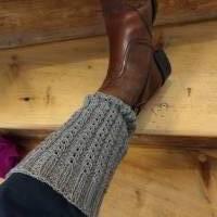 Beinstulpen, Beinwärmer, Stiefelstulpen, Stiefelblitzer, boot-cuffs mit Muster gestrickt Bild 1
