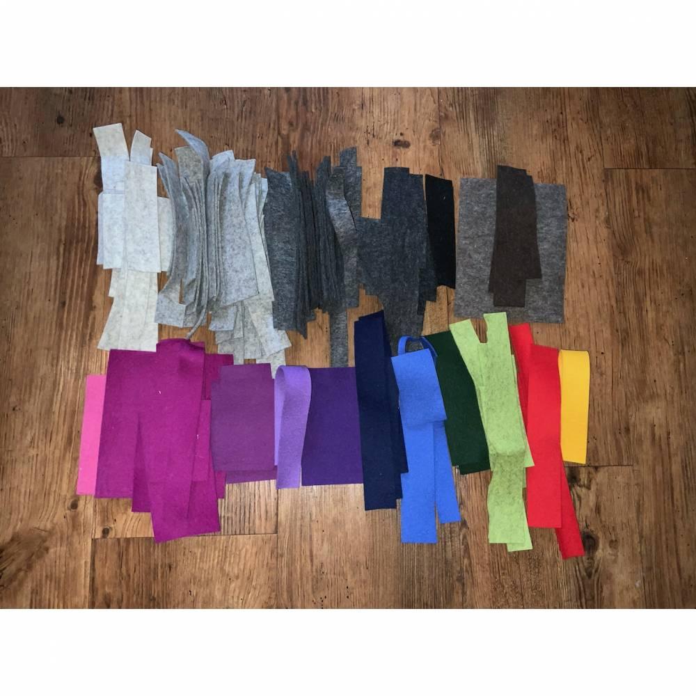 580 g Wollfilz Reste verschiedene Farben und Größen Bild 1