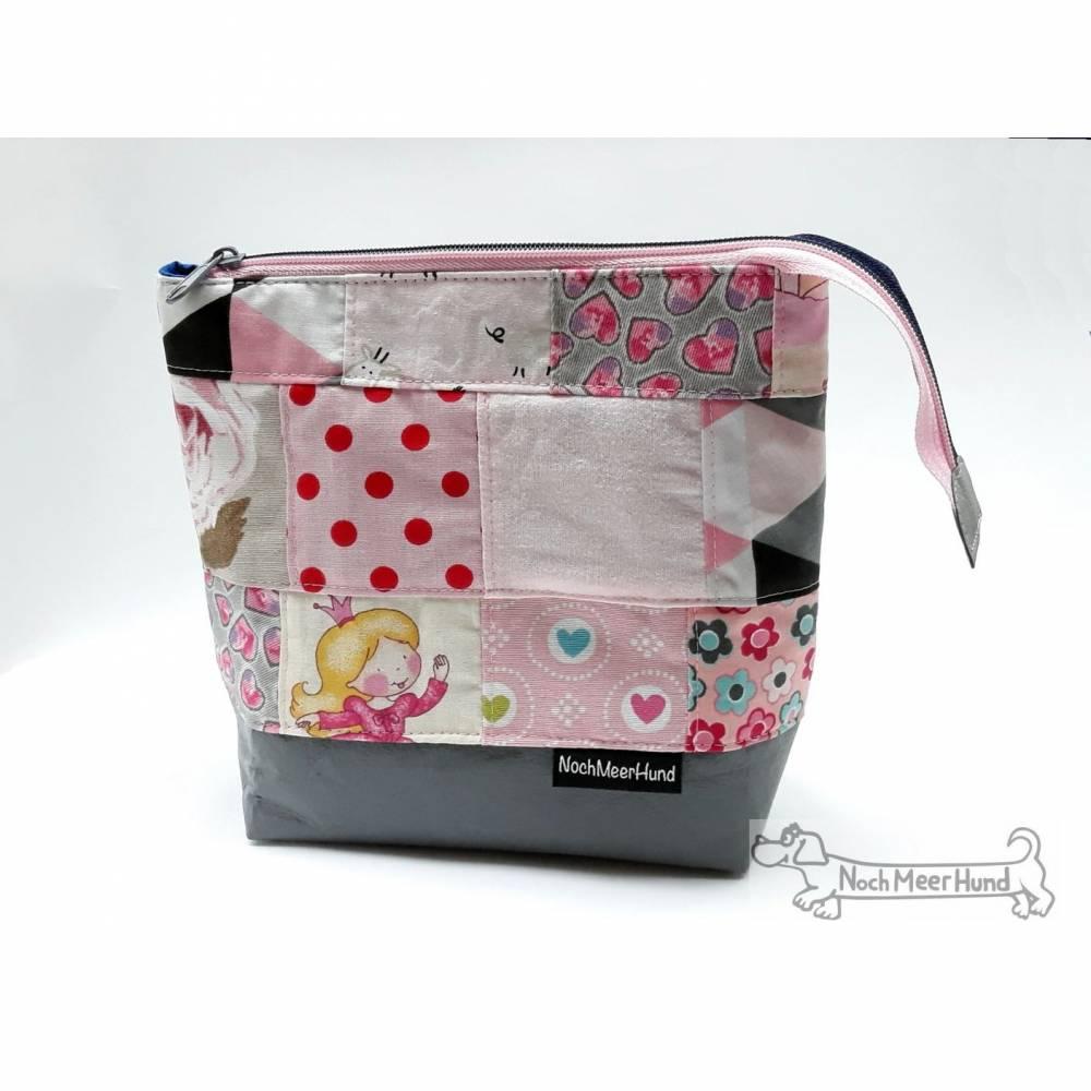 Rosa oder blau? Beides! Täschchen, Kosmetiktasche, Projekttasche; für Strickzeug, Krimskrams...  Bild 1