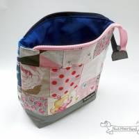 Rosa oder blau? Beides! Täschchen, Kosmetiktasche, Projekttasche; für Strickzeug, Krimskrams...  Bild 4