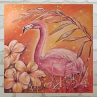 TROPICAL FLAMINGO - Acrylgemälde mit Hibiskusblüten auf Leinwand 60cmx60cm Bild 1