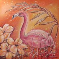 TROPICAL FLAMINGO - Acrylgemälde mit Hibiskusblüten auf Leinwand 60cmx60cm Bild 2