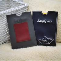 Impfpasshülle aus Kunstleder in grau/rot oder dunkelblau für Männer/Frauen mit und ohne Kartenfach Geschenk Muttertag  Bild 2