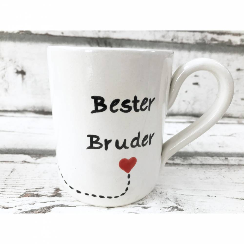 Tasse, Bester Bruder, Kaffee, 350ml, Keramik handbemalt Bild 1