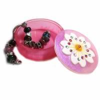 Schmuckkästchen für Mädchen mit Kirschblüte, Blumen und Glitter Bild 1