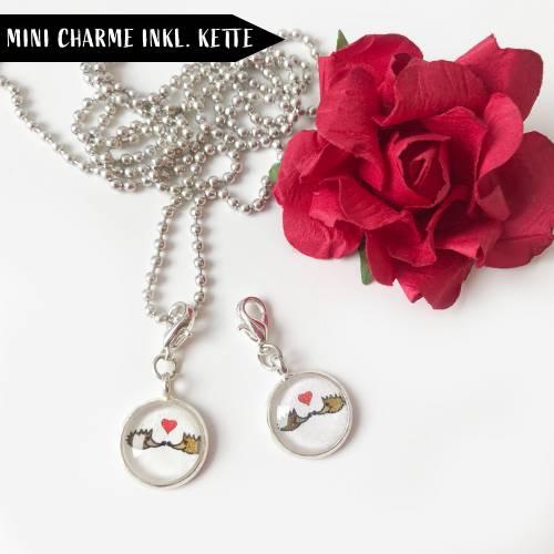 Valentins-Set mit Mini Charme, Kette und Grußkarte