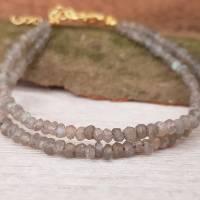Armband Labradorit Perlen vergoldet schlamm Karabinerverschluss doppelreihig Edelstein-Armband Verlängerungskette  Bild 1